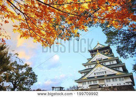 Beautiful Osaka Castle In Osaka With Nice Background, Japan