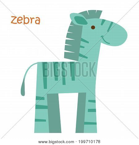 Zebra isolated. Drawing zebra for a child