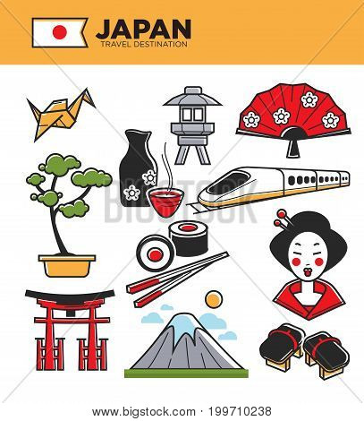 Japan travel famous landmark symbols and culture tourist attraction sightseeing. Japanese flag, Mount Fuji and geisha woman kimono, sushi food chopstick or bonsai tree and sake drink. Vector icons set