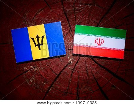 Barbados Flag With Iranian Flag On A Tree Stump Isolated