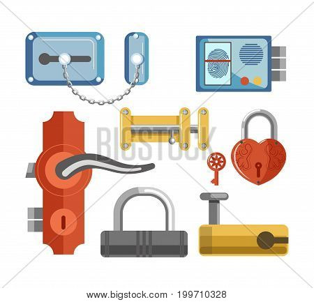 Locks with metal chain, fingerprint scanner, solid latch, convenient handle and red heart-shaped with key for premises protection isolated cartoon vector illustrations set on white background.