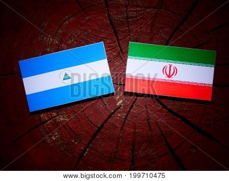 Nicaraguan Flag With Iranian Flag On A Tree Stump Isolated