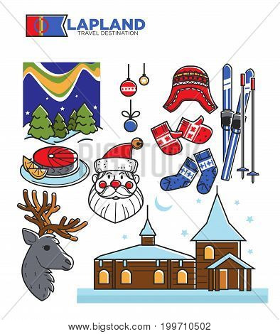 Lapland travel famous landmark symbols and traditional tourist attractions. Vector flag, Santa Claus reindeer, ski and winter house, polar lights and Christmas tree decoration. Vector isolated icons