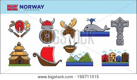 Norway tourist landmarks and travel famous attractions symbols. Norwegian flag, Viking ship, shield and horn helmet, elk or Thor hammer and house architecture or fish food. Vector isolated icons