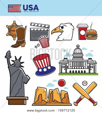 USA America travel landmarks or tourist attraction and sightseeing symbols. American flag, New York Liberty Statue or US Capitol, dollar and Colorado canyon, baseball or rugby. Vector isolated icons