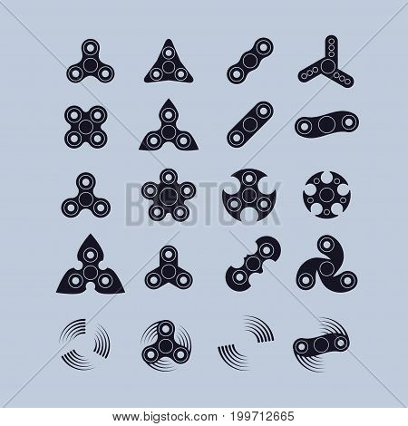 various fidget spinners silhouette icons set. vector illustration
