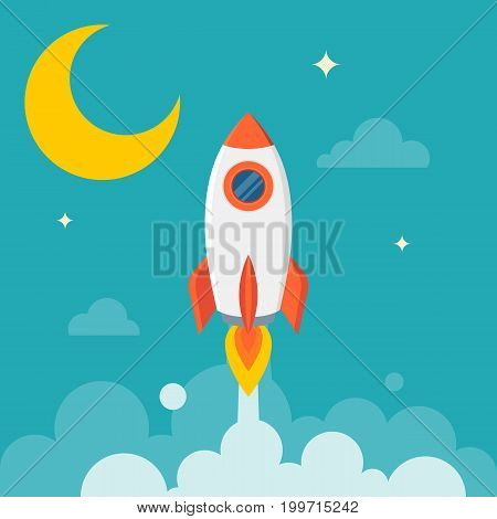 launch rocket with moon and sky, flat design vector