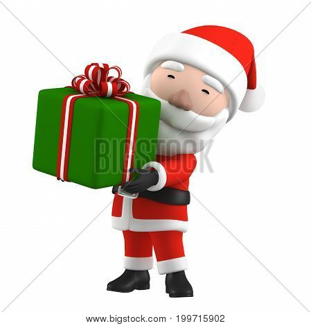 3D Render of Santa Claus with present  on white background.
