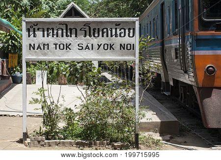 namtok sai yok noi rail station Asia Thailand sign