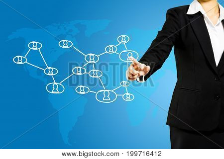 woman hand pressing social network icon, networking concept