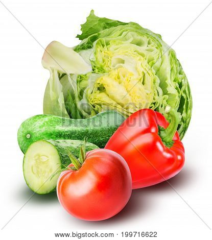 Set of fresh vegetables isolated on white background with clipping path