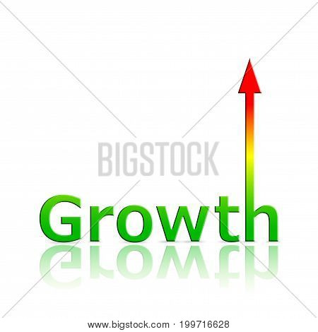 colorful word GROWTH with an arrow on top of the last letter