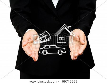 woman hand holding home car money, insurance concept