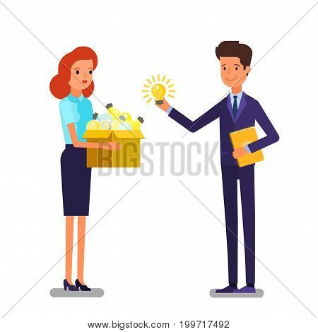 Concept of idea. Business man and woman with box full light bulb. Flat design, vector illustration.