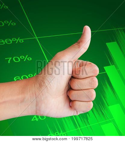 hand business graph on green graph background