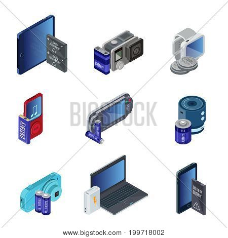 Isometric electronic gadgets set with different batteries for modern portable devices functioning isolated vector illustration