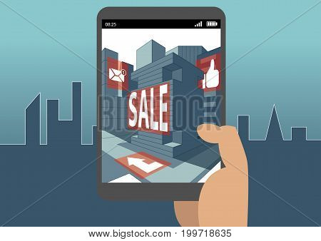 Augmented reality concept as example for virtual reality and mobile and digital business