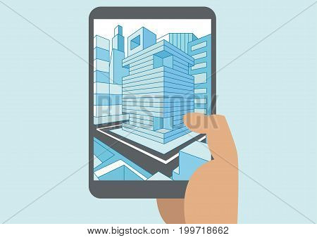 Vector illustration of hand holding modern tablet or smart phone with 3D view of a city displayed on touch screen