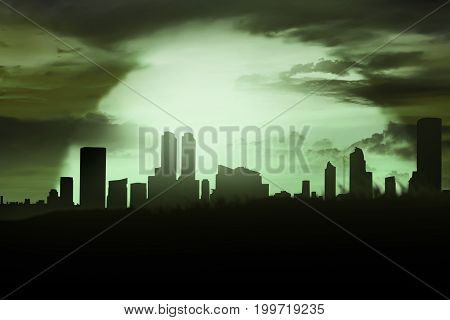 Silhoutte Of Cemetery And City