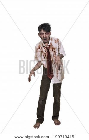 Portrait Of Asian Zombie Man With Hand To Reach You