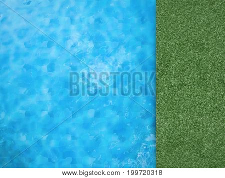 3d rendering pool top view with green grass