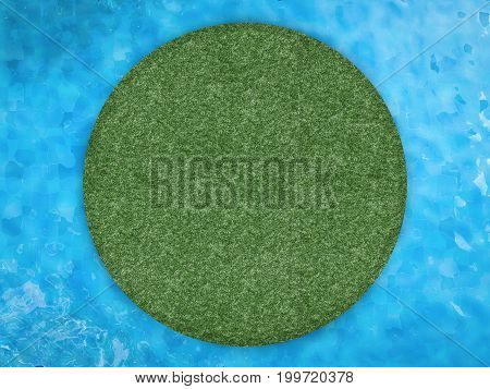 3d rendering green island with pool top view