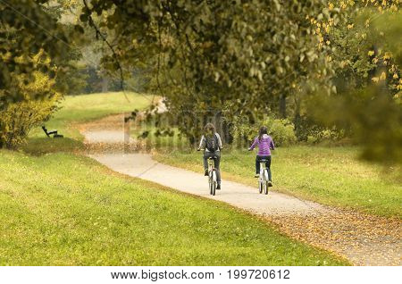 Two cyclists on autumn path - Unidentified people with their backs to the beholder