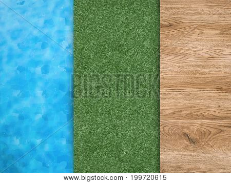 3d rendering pool side with green grass and wooden floor