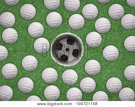 3d rendering top view golf balls with empty golf cup on green background