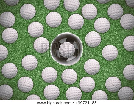 3d rendering golf training concept with many of golf balls on green