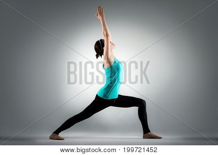 Fitness Yoga Female Coach Hands Up To Stretching
