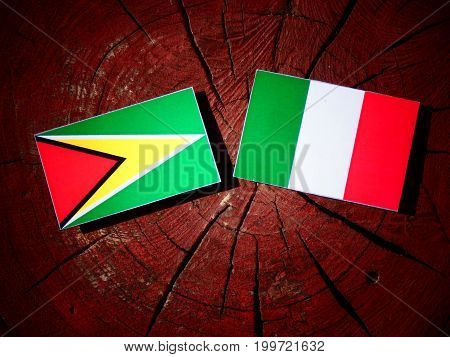 Guyana Flag With Italian Flag On A Tree Stump Isolated