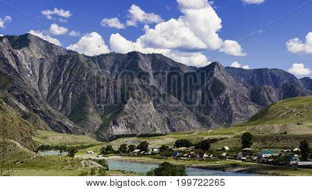 Mountain landscape. Panorama of the Altai Mountains. Russia, the Altai Republic.