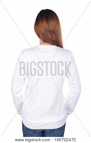 Woman In White Long Sleeve T-shirt Isolated On White Background (back Side)