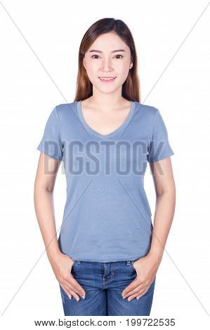 Woman In Blue T-shirt Isolated On A White Background