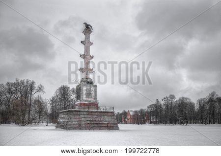 Chesme Column, Tsarskoye Selo, St. Petersburg, winter