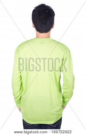 Man In Green Long Sleeve T-shirt Isolated On White Background (back Side)