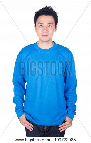 Man In Blue Long Sleeve T-shirt Isolated On A White Background