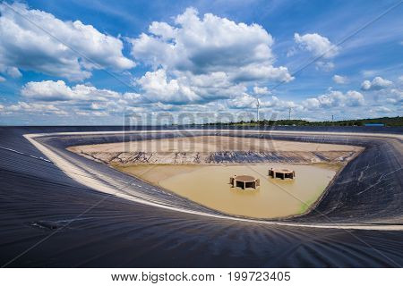 dry Lam Takong reservoir (water reservoir with plastic liner) Nakhon Ratchasima Thailand