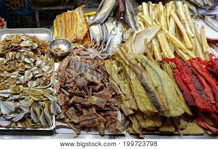 Dried Fish Is Sold At The Market