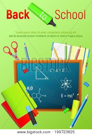 Back to School. Back to School colorful cartoon poster with blackboard and school supplies. Vector illustrations.