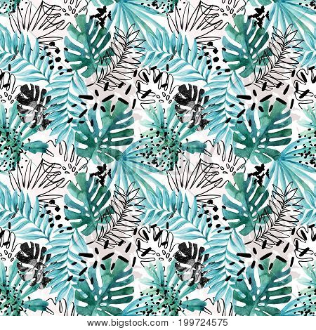 Abstract exotic leaves seamless pattern. Hand drawn tropical summer background: watercolor leaves leaf contours drawings silhouette marble textures dots. Watercolour art illustration
