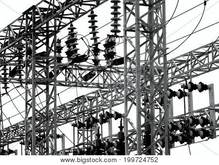 Electrical Substation With Large Insulators