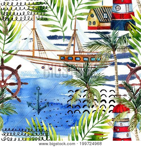 Watercolor adventure seamless pattern in marine style. Summer voyage background with lighthouse yacht abstract sea waves palm trees and leaves. Water color art illustration