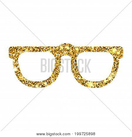 Gold glitter vector sunglasses. Golden sparcle glasses. Amber particles. Luxory design element.