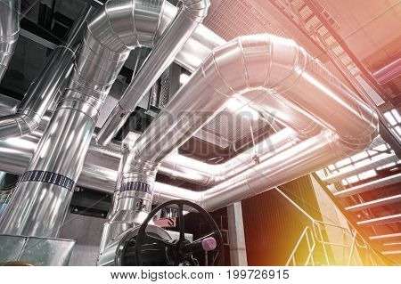 Industrial Zone, Steel Pipelines, Valves, Cables And Walkways