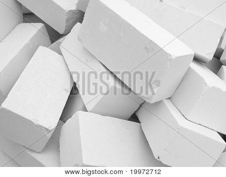 A Large Pile Of White Bricks