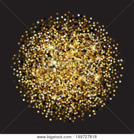 Golden glittering circle made of dots. Luxury golden round dots on black backdrop. Amber particles gold confetti.