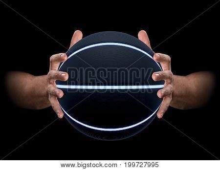 Hands Gripping Basketball