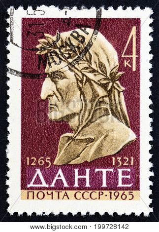USSR - CIRCA 1965: A stamp printed in USSR issued for the 700th birth anniversary of Dante shows Dante, circa 1965.